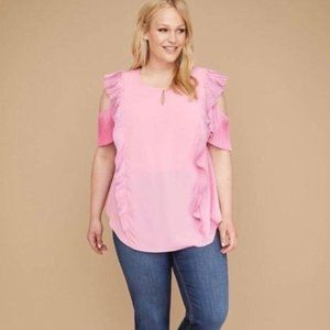 Lane Bryant Cold Shoulder Pleat Ruffle Top Pink 24
